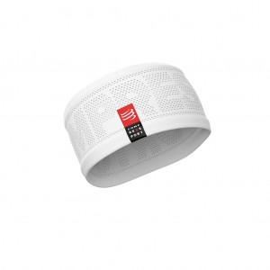 Opaska na głowę do biegania COMPRESSPORT Headband V2 On/Off - biała