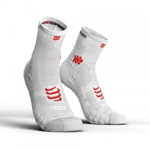 Skarpetki do biegania COMPRESSPORT V3 Run Hi - białe