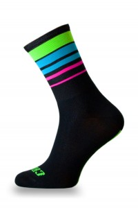 Skarpetki kolarskie CRAZYBIKER Fluo Stripes Black