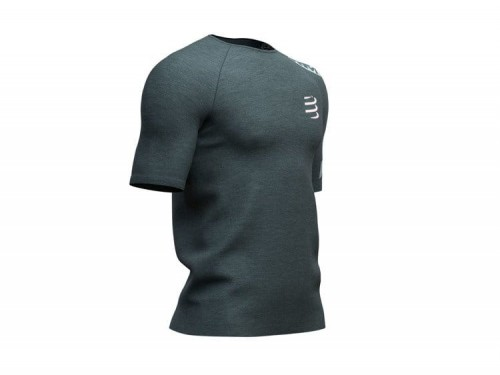 Koszulka biegowa COMPRESSPORT Training T-Shirt BORN TO SWIM BIKE RUN - zielona